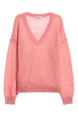 Розовый свитер, джемпер H&M с мохером и шерстью, новый! XS