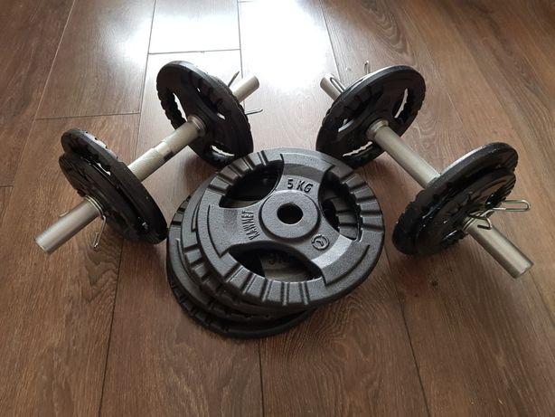 Hantle 2x20kg, łącznie 40kg żeliwne kierownica