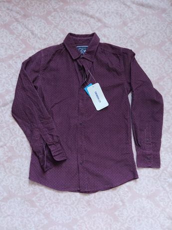 Bordowa koszula chłopięca 134/140