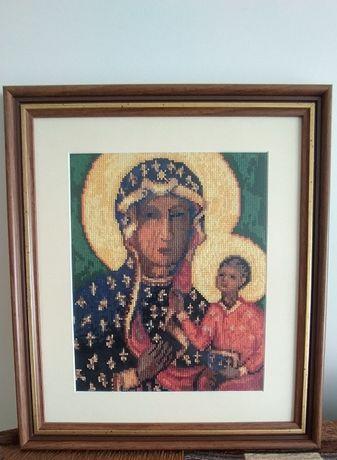 Obraz Matki Bożej Częstochowskiej haft krzyżykowy