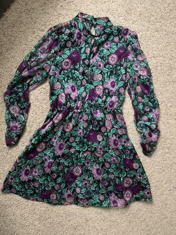 Обалденное шифоновое платье Zara актуальный уветочный принт