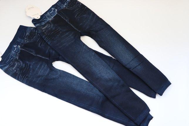 Теплые бесшовные лосины-джеггинсы под джинс на меху. р.110-122