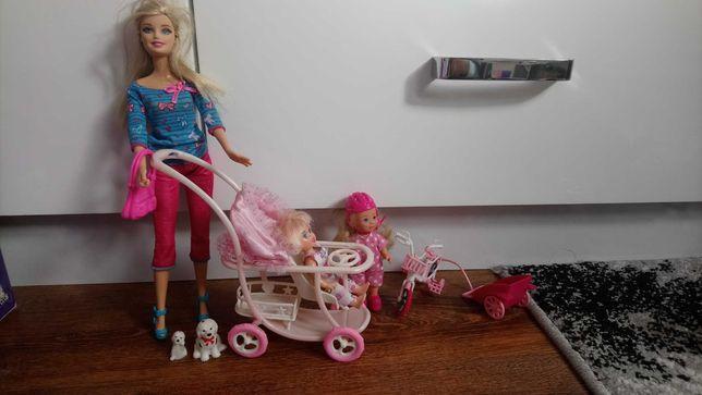 Zestaw lalki Barbie ,wózek ,rower