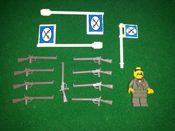 LEGO szeryf WESTERN flaga broń i inne elementy flagi rewolwer pistolet