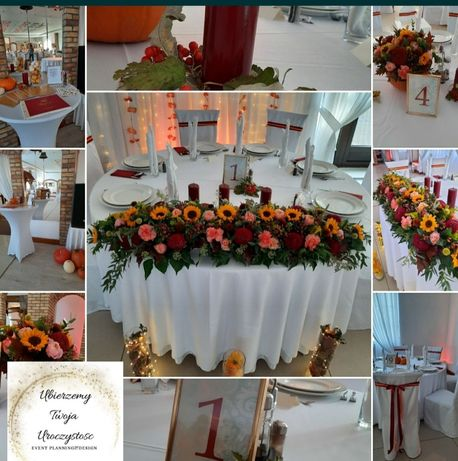 Pokrowce na krzesła,  dekoracje na różne uroczystości