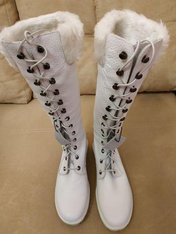 Демисезонные женские кожаные сапоги (высокие ботинки) Timberland Тимбе
