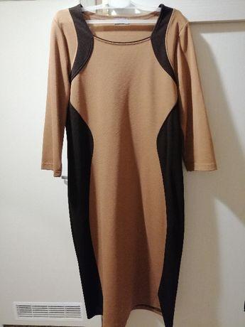 Damska sukienka brąz czerń 78% wiskoza! Okazja!