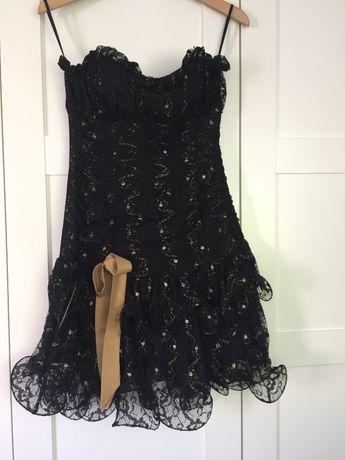 Sukienka mini wesele studniówka czarno-złota koronka święta