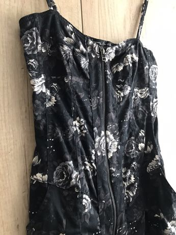 Sukienka/tunika dzins w kwiaty