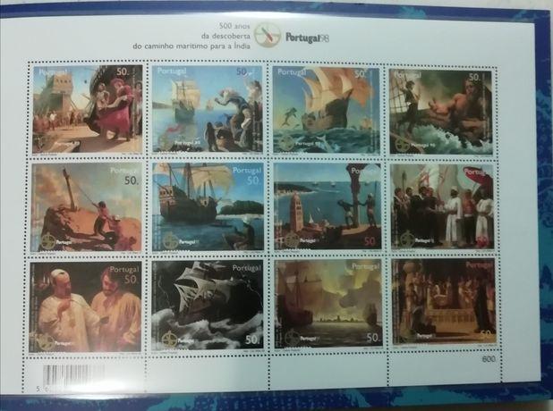 Caderneta de selos 500 anos chegada à Índia