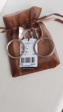 серебро 925 шикарные серьги кольца 8,3 грамм