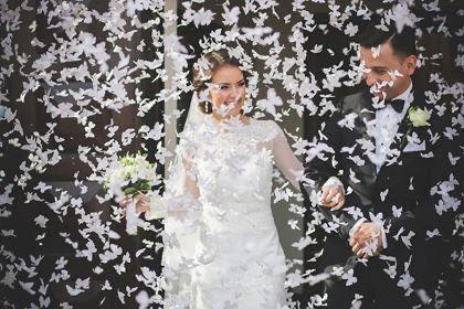 Confetis borboleta papel branco casamento noivos igreja confettis novo