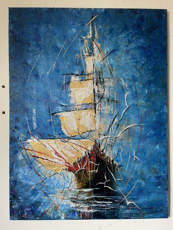 Картина маслом, морская тема, море, океан, корабль