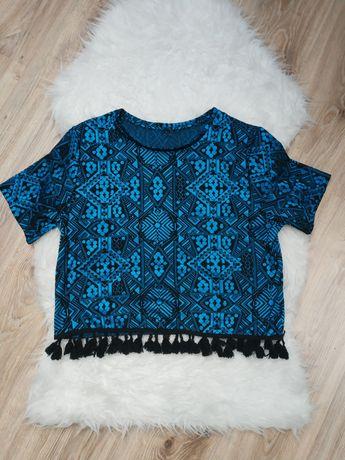 Niebieska bluzka koszulka z frędzlami frędzle S 36 aztecka aztec czarn