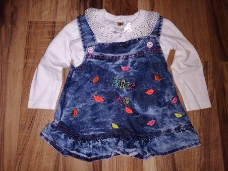 Komplet sukienka na szelkach z bluzką rozmiar 86