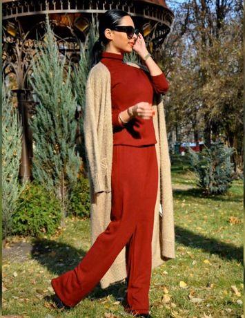 Длинное пальто кардиган вязаный длинный базовый оверсайз