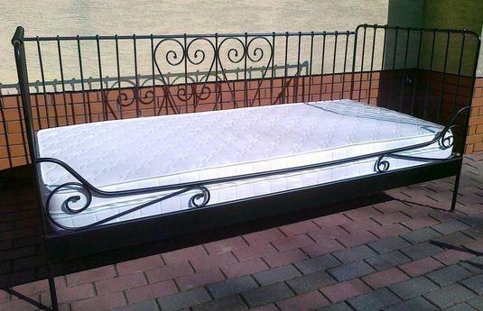 Łóżko STALOWE ze stelażem elastycznym i materacem metalowe 90x200cm