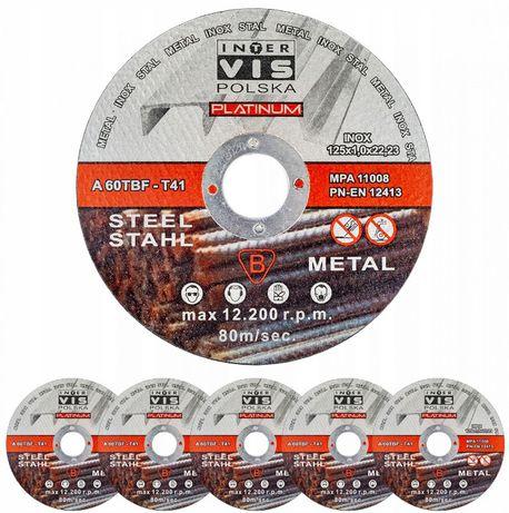 Tarcza tarcze metalu stali cięcia 125x1mm INOX Inter Vis Platinum