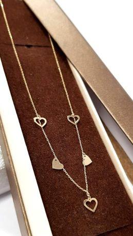 Złoty łańcuszek naszyjnik celebrytka z sercami, złoto 585