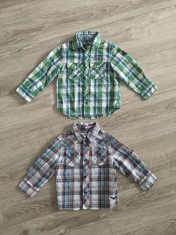 Koszula h&m 98 komplet 2 szt elegancka w kratkę długi rękaw