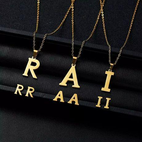 Złota Literka Śliczny Komplet Biżuterii Naszyjnik + Kolczyki