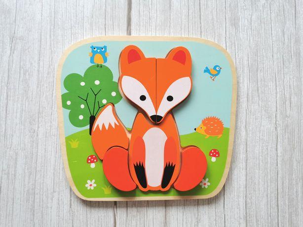 Smiki Układanka drewniana lis - Puzzle drewniane lisek