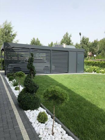 Wiata garażowa carport ogrodzenie nowoczesne