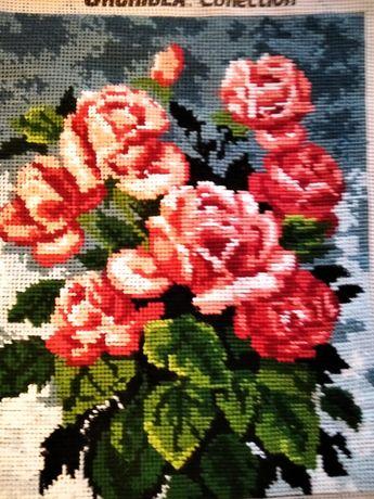 Obraz Krzew róży haft gobelinowy