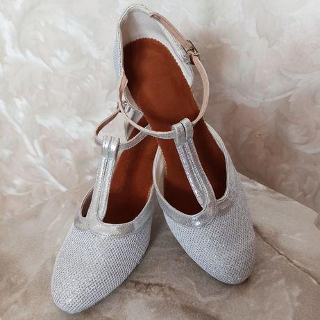 Brokatowe srebrne buty do tańca, buty ślubne! Nowe bez metki!