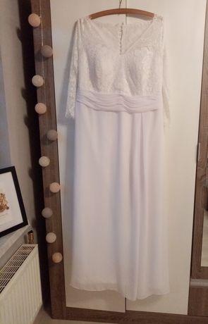 Ślubna suknia z koronką. Rozm. 48
