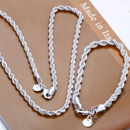 ЖЕНСКИЙ Набор цепь + браслет серебро 925 ПРОБА !!! №1