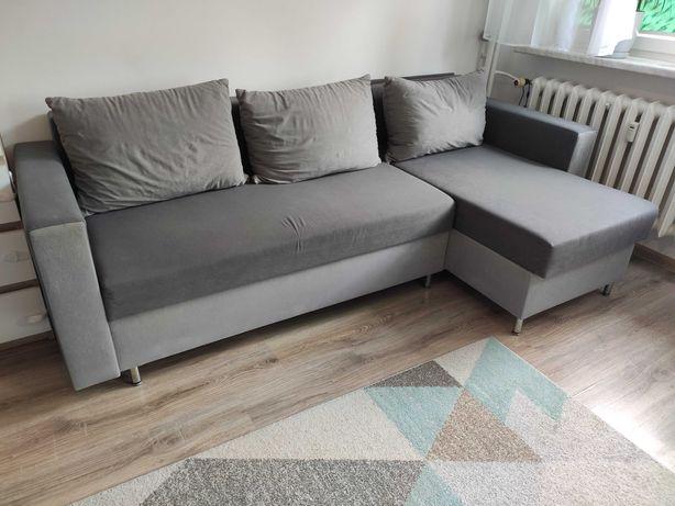 Rogówka szara sofa łóżko narożnik