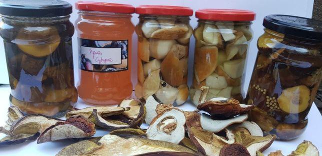 borowiki marynowane suszone podgrzybki syrop z malin dżem truskawkowy