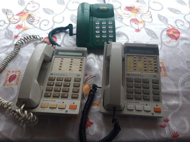 Telefony stacjonarne Panasonik i Daewoo.