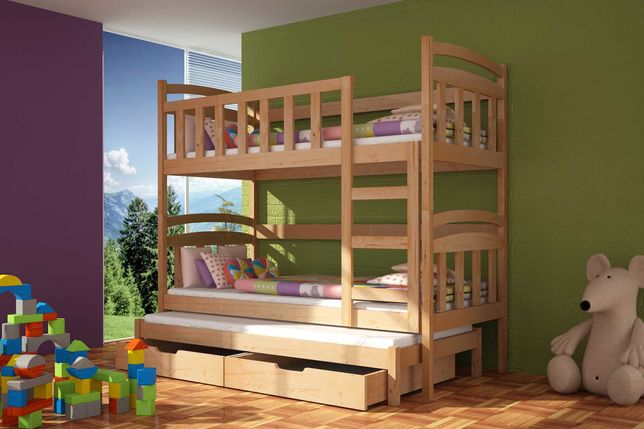 Sosnowe łóżko piętrowe Daniel 3 osobowe dla dzieci - materace GRATIS!
