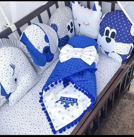 Набор бортиков и балдахин в детскую кровать