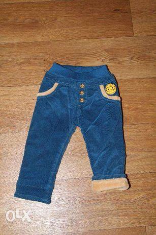 Теплые вельветовые штаны на хб подкладе с утеплителем, мальчик 1-1,5г
