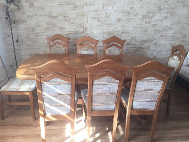 Duży stół dębowy rozkładany + 8 krzeseł