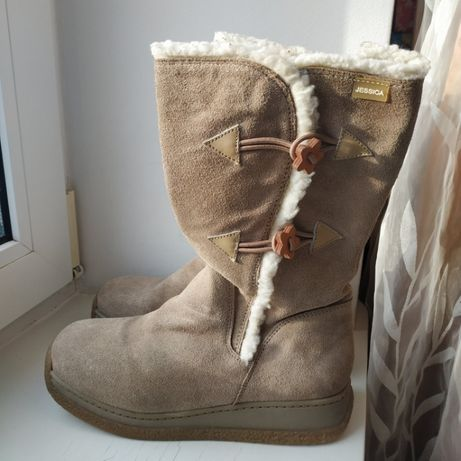Зимние кожаные ботинки сапоги Jessica 38р. 25 см.