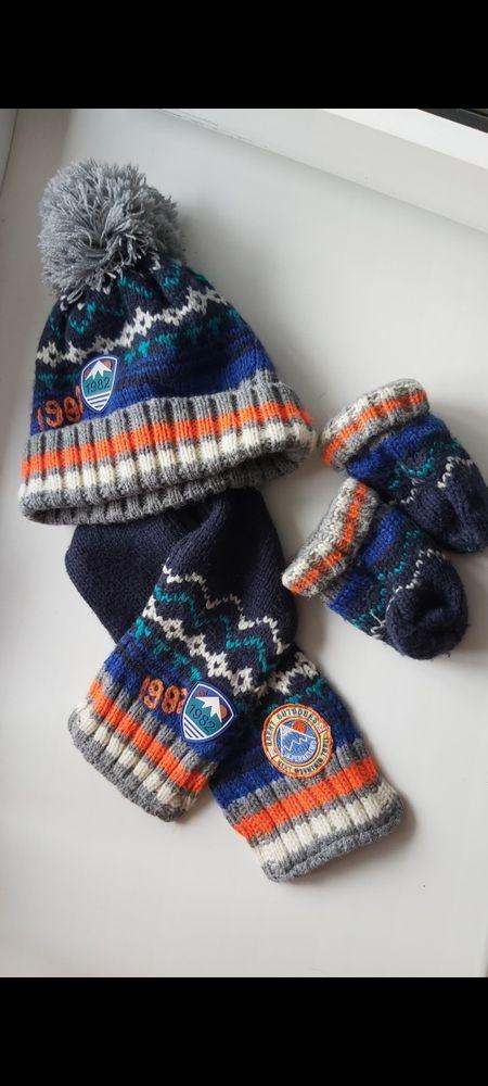 Набор Next шапка шарф варежки  3-6 мес, шапка шарф варежки 6-12 мес Одесса - изображение 1