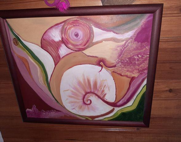 Tela pintada com moldura de madeira