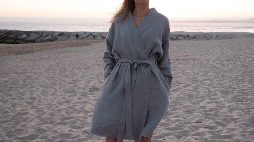 Kimono Handmade Portugal 100%linho Odivelas - imagem 1