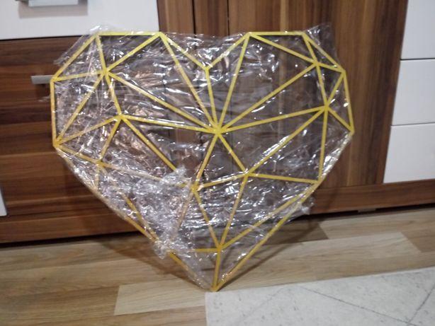 Serce geometryczne złote 71x62