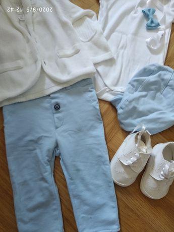 Komplet do chrztu dla chłopca rozmiar 74 gratis buciki nowe