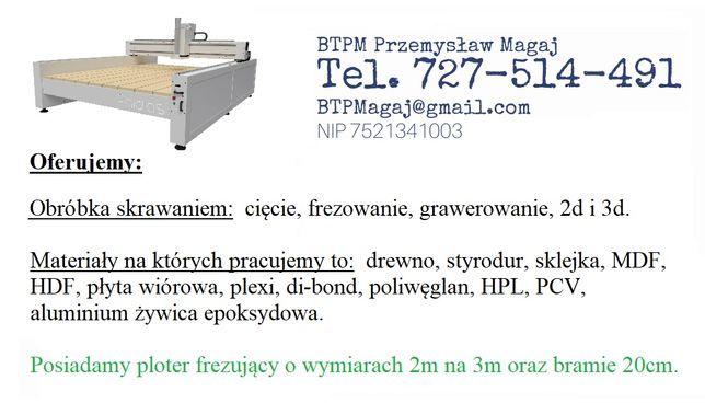 Frezowanie, cięcie cnc 3000x2000x20 megaplot 2d, 3d