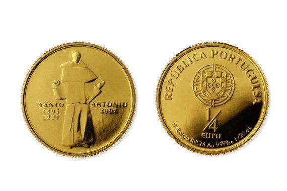 Moeda comemorativa de 1/4 euro em Ouro - Sto António de Lisboa
