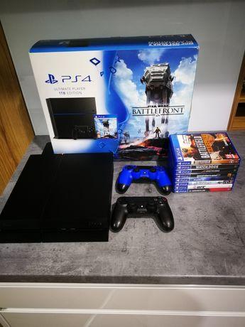 PS4 UPE, 1 TB, 2 pady, 8 gier, OKAZJA