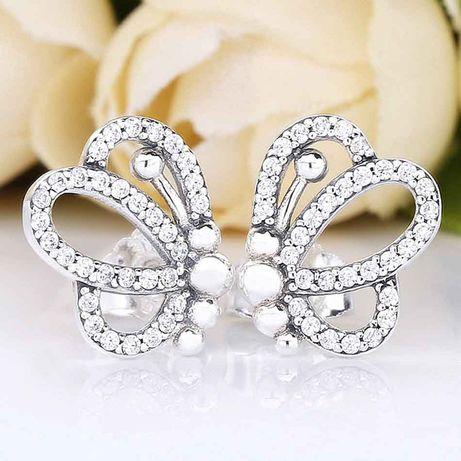 Lindíssimos brincos em prata Butterfly outlines