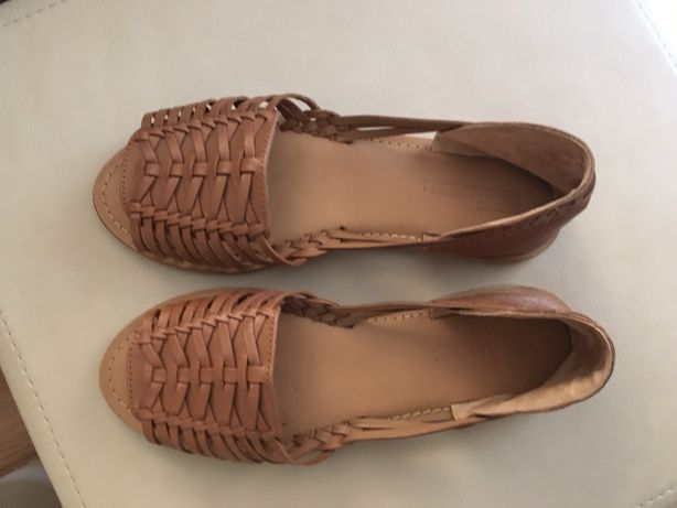 Skórzane sandały Asos 38 brązowe ażurowe