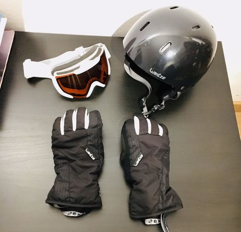 Capacete óculos e luvas neve - Snowboard / Sky